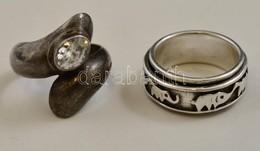 Ezüst(Ag) Gyűrű, 2 Db, Egyik Kővel Díszített, Jelzett, Méret: 58, Bruttó: 16,4 G - Jewels & Clocks