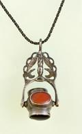Ezüst (Ag.) Nyaklánc, Kő Berakásos Medállal, Jelzett, H: 61,5 Cm, Bruttó 22,2 G - Jewels & Clocks