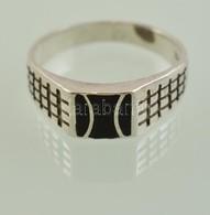 Ezüst (Ag.) Gyűrű, Fekete Zománc Berakással, Jelzett, Méret: 62, Bruttó 3,5 G - Jewels & Clocks