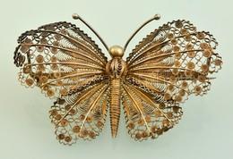 Ezüst (Ag.) Aranyozott Filigrán Pillangó Bross, Jelzett, 8×5,5 Cm, Nettó 20,9 G - Jewels & Clocks