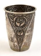 Ezüst (Ag.) Rózsás Keresztelő Pohár, Jelzett, Mesterjeggyel, Kopott, M:7,5 Cm, Nettó:52 G - Jewels & Clocks