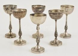 6 Db Ezüst (Ag.) Likőrös Pohár, Jelzettek, M: 10 Cm, Nettó 276 G - Jewels & Clocks