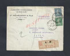 LETTRE COMMERCIALE SUR TIMBRES EN Ar  MICHELSOHN & FILS  HORLOGERIE À PARIS LA ROUE AILÉE & Faub DU TEMPLE :: - France