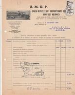 Facture Illustrée Camion 8/12/1956 UMDP Union Mutuelle Propriétaires Autunois Pour Vidanges AUTUN Saône Et Loire - France