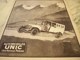 ANCIENNE PUBLICITE VOITURE UNIC AUTOCAR-BUS 1920 - Publicités