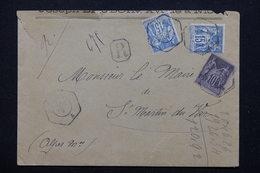 FRANCE - Enveloppe En Recommandé Pour Saint Martin Du Var En 1907  , Affranchissement Sages - L 21290 - Marcophilie (Lettres)