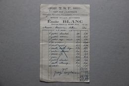 Facture T.S.F. Tout Pour L'électricité, Emile Blanc à Albi (Tarn), 1938 - France