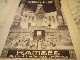 ANCIENNE PUBLICITE PARFUM AMBRE DE NUBIE  DE RAMSES   1920 - Publicités