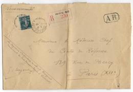 SEMEUSE - 1931 - YVERT N° 239 SEUL Sur LETTRE RECOMMANDEE 3° ECH (GRAND FORMAT) De PARIS - Marcophilie (Lettres)