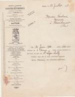 Facture Illustrée Lion 13/7/1928 Sté Lyonnaise Schistes Bitumineux  Marque OLION AUTUN Saône Et Loire - France