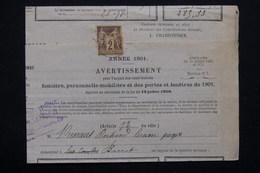 FRANCE - Type Sage 2 Ct Sur Avertissement De Contributions En 1901 Pour Barrat - L 21291 - Marcophilie (Lettres)