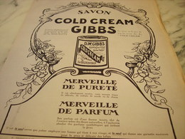 ANCIENNE PUBLICITE SAVON COLD CREAM  GIBBS  1920 - Parfums & Beauté