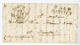 MORBIHAN LAC 1831 P.54.P. / PONTIVY EN COMPOSITION AVEC TYPE 12 RARE SUPERBE INDICE 16 COTE 190 EUROS - Marcophilie (Lettres)