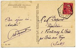 MORBIHAN CP 1948 CARNAC PLAGE SUR GANDON - Storia Postale