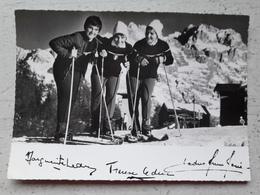Carte Photo Signée Soeurs LEDUC Championnes Ski VENTRON VOSGES - Wintersport