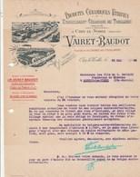 Facture Lettre Illustrée 26/5/1922 VAIRET BAUDOT Céramiques  Usine Des Touillards CIRY LE NOBLE Saône Et Loire - France