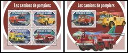DJIBOUTI 2018 MNH Fire Engines Feuerwehr Fahrzeuge Camions De Pompiers M/S+S/S - OFFICIAL ISSUE - DH1903 - Firemen
