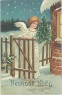 Cpa Fantaisie : Heureux Noël – Ange & Sapin De Noël, Neige - Fancy Cards