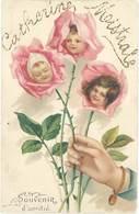 Cpa Fantaisie : Souvenir D'Amitié, Enfants Dans Rose ( Gaufrée ) - Fantaisies