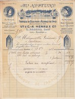 Facture Illustrée 13/10/1917 HENRY - PASCAL Fabrique De Bleu Pour Azurage Au Neptune TOURNUS Saône Et Loire - France