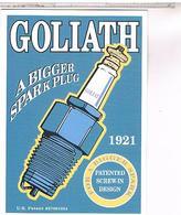 PUBLICITE CPM   BOUGIE MOTEUR GOLIATH 1921 - Pubblicitari