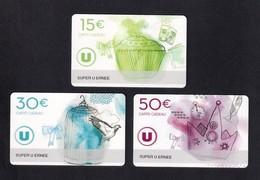 3  Carte Cadeau SUPER U  ERNEE (53).   Gift Card. Geschenkkarte - Cartes Cadeaux