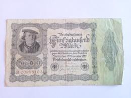 50000 (fünfzigtausend) Mark Banknote Aus Deutschland Vom 19.11.1922 Inflation (sehr Schön) - [ 3] 1918-1933 : Weimar Republic