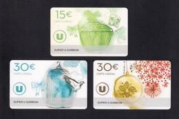 3  Carte Cadeau  SUPER U  GORRON (53).    Gift Card. Geschenkkarte - Cartes Cadeaux