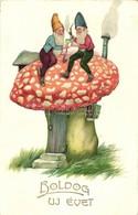T3 New Year, Dwarves On A Mushroom, HWB Ser. 3570. Litho (small Tear) - Ansichtskarten