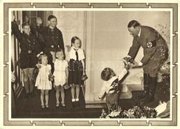 T2/T3 Adolf Hitler With Children. Hitlerjugend, NSDAP German Nazi Party Propaganda, Swastika + Luftpost 6+19 Ga.  (EK) - Ansichtskarten