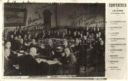 T2 1925 Conferenza Di Locarno / Locarno Treaties. Printed Signatures Of Chamberlain, Mussolini, Briand, Benes, Luther, S - Ansichtskarten