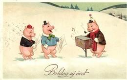 T2/T3 New Year, Singing Pigs Litho (EK) - Ansichtskarten