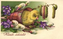 T2 Easter, Chicken With Flowers, Amag 2934. Litho - Ansichtskarten