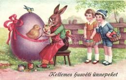 T2/T3 Easter, Rabbit Painter With Girls, Egg (EK) - Ansichtskarten