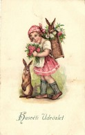 T2/T3 Easter, Girl With Rabbits Litho (EK) - Ansichtskarten