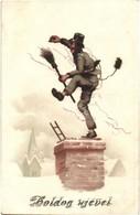 T2/T3 Boldog Újévet! / New Year Greeting Art Postcard With Chimney Sweeper. Litho  (EB) - Ansichtskarten