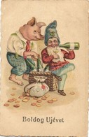 T2 1929 Boldog Újévet! / New Year Greeting Art Postcard With Pig And Dwarf Drinking Champagne. Litho - Ansichtskarten