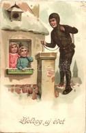* T2/T3 Boldog Újévet! / New Year Greeting Art Postcard With Chimney Sweeper. EAS 958. Litho  (EK) - Ansichtskarten