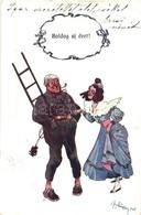 T2/T3 Boldog új évet! / New Year Greeting Postcard, Chimney Sweeper, Lady, B.K.W.I. 2503-3 (EK) - Ansichtskarten