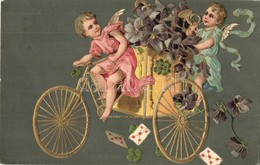 T2 1909 Greeting Art Postcard With Angels On Tricycle. Emb. Litho - Ansichtskarten