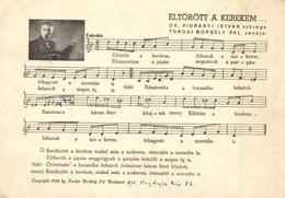 T2/T3 Eltörött A Kerekem... Dr. Vidrányi István Szövege és Tordai Borbély Pál Zenéje. Kottás Lap / Hungarian Music Sheet - Ansichtskarten