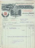 Facture Illustrée 15/10/1915 Louis MATHES Fournitures Pour Caves Et Distilleries MÂCON Saône Et Loire - France