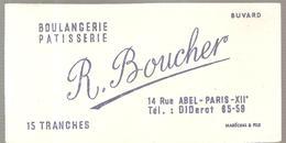 Buvard BOULANGERIE PATISSERIE R. Boucher 14, Rue Abel PARIS XII ème - Biscottes