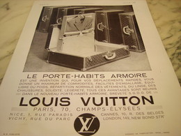 ANCIENNE PUBLICITE PORTE HABIT ARMOIRE  LOUIS VUITTON  1932 - Autres