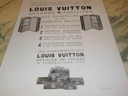 ANCIENNE PUBLICITE MALLE LOUIS VUITTON  1932 - Publicités