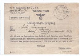 Wz-hoki-110 -  Kempten - Deutsches Reich - Rundfunkgenehmigung 1943 - Historische Dokumente