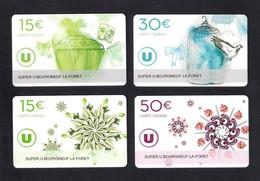 4  Carte Cadeau  SUPER U   BOURGNEUF LA FORET (53).    Gift Card. Geschenkkarte - Gift Cards