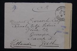 FRANCE - Enveloppe En Franchise De Flixecourt Pour Un Prisonnier Aux Pays Bas En 1916 , Contrôle Postal - L 21307 - Guerre De 1914-18