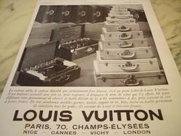 ANCIENNE PUBLICITE VALISE  LOUIS VUITTON  1931 - Vintage Clothes & Linen