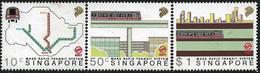 Singapore 1988 Scott 522-524 MNH Transport, Transit, Map, Train - Singapour (1959-...)